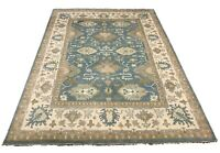 10X14 Oushak Area Rug Light-Blue Hand-Knotted Wool Oriental Carpet (10.3 X 13.7)