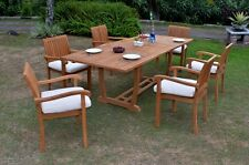 "7 PC OUTDOOR DINING TEAK SET - 94"" RECTANGLE EXTENSION TABLE, 6 STACKING CHAIRS"