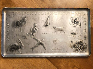 Old Vintage Wendell August Forge Hammered Aluminum Childs Tray Animals Alphabet