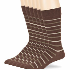 Men's Cotton 6 Pack Striped Dress Business Suit Crew Socks Large 10-13 Brown