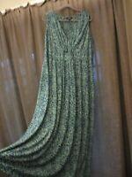 Chaps maxi dress green blue scroll print stretch sleeveless NO WRINKLE plus  20W