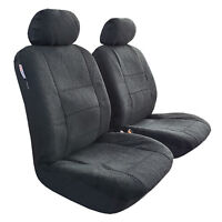 Acrylic Sheepskin Fur Lambswool Black Charcoal Airbag Front Seat Covers Size 30