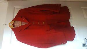 "1936 Bespoke Stevenstone Hunt Red Melton Cloth Hunting Coat size 38"""