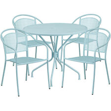 35.25'' Round Sky Blue Indoor-Outdoor Patio Resturant Table Set w/4 Chairs