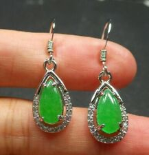 Green Jade Cabochon WaterDrop Imitation Diamond Gold Plated Hook Dangle Earrings