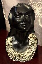 LEIALOHA 🌺 Hawaiian VINTAGE Black Coral TIKI Sculpture Bust FRANK SCHIRMAN U8
