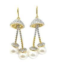 Cubic Zirconia Dangle Designer CZ Earrings Two Tone Plated Pearl Hang Jhumkaa