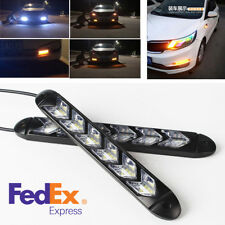2 Pcs White/Amber Switchback 108LED Light Strip Car Headlight Turn Signal Light