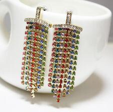 Boucles d`Oreilles CLIP ON Doré Tassel Cristal Multicolore Brillant Super B4