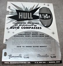 VINTAGE MID CENTURY SPACE AGE HULL COMPASS AUTO BOAT DEALERS BROCHURE 1950'S