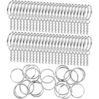 10 PCS Keyring Blanks Silver Tone Key Chains Findings Split Rings 4 Link  EN