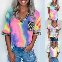Women Casual Tie-Dye Leopard Patchwork T Shirt V Neck Short Sleeve Tops Blouse