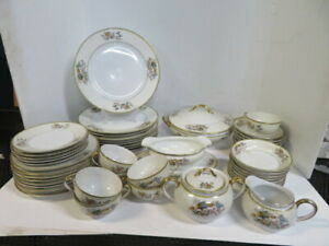 Noritake Datonia Gold Accents Floral Bird Dinner Plate Bowl Casserole Gravy