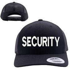 SECURITY TEXT MESH TRUCKER SNAP CLOSURE CAP HAT BLACK