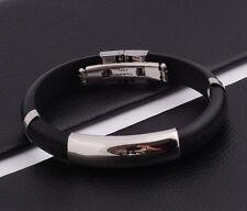 """Unisex Men Women's Stainless Steel Rubber Silicone Bracelet black 8"""" G30"""