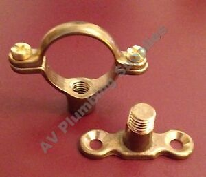 Qty 10 x 22mm Brass Single Munsen Ring & Male Backplate - Pipe Clips Fixing
