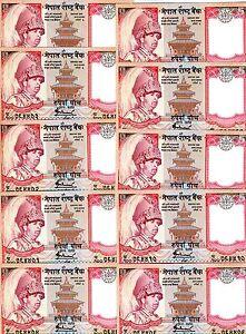 LOT, Nepal, Kingdom, 10 x 5 Rupees, ND (2005), P-53, UNC > King Gyanendra, Yak