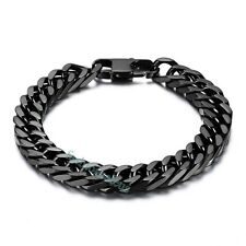 "Fashion 10mm Big Black Stainless Steel Men's Boy's Link Bracelet 8"" Chain New"