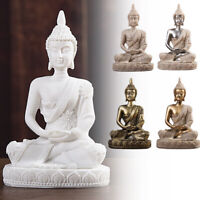Buddha Statue Crackle Shrine Home Decor Desk Gifts Ornaments Meditating Sitting