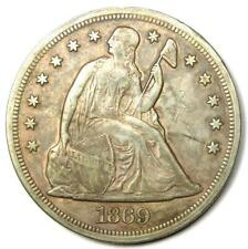 1869 Seated Liberty Silver Dollar $1 - XF Details (EF) - Rare Early Coin!