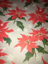 Vtg Christmas Wrapping Paper Gift Wrap 1950 Nos Snowflakes Poinsettias On Grey