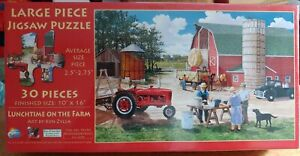 """Complete """"Lunchtime on the Farm"""" 30 pc Puzzle 10x16 Barn, Tractor, Farmer Work"""