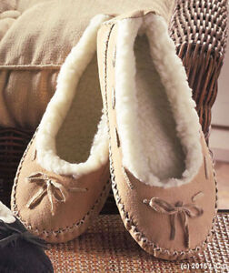 Women Suede Moccasins Fur Lining S 5/6 Slippers Shoes In/Out Mocassins Tan Black