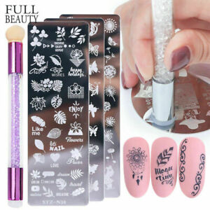 Nail Stamping Plates +Silicone Brush Set Stencils Polish Template Nail Art Stamp