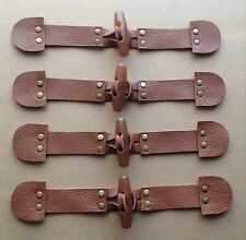 4x Real TAN Leather, TAN Toggle Button, Metal Riveted, Duffle Coat Fasteners