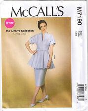 Vintage 50s Retro Peplum Tunic Top Skirt Belt Sewing Pattern Size 6 8 10 12 14