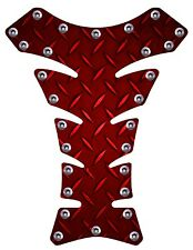 Diamond plate Red Rivets 3D Gel Motorcycle Gas Tank Pad tankpad Protector Guard