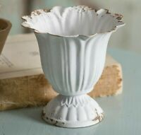 CHIPPY WHITE Scalloped Cup Pot Container Cottage French Garden Planter Small