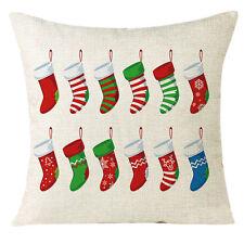 Xmas Christmas Socks Sofa Home Decoration Festival Pillow Case Cushion Cover