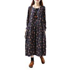 Ladies Retro Linen Cotton Full Length Dress Pleated Flower Printed Long Sleeve