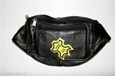 Black Travel Real Leather BUM BAG MONEY Waist Belt Pack Holiday Festival POUCH
