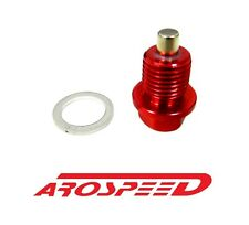 AROSPEED 20X1.5MM RACING MAGNETIC OIL DRAIN PLUG BOLT W/ CRUSH WASHER RED