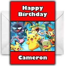 Personalised Pokemon Pokeball Birthday Party Thank you cards inc Envelopes P1TY