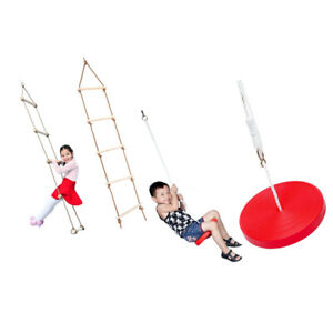 Red Climbing Disc Rope & Climbing Ladder for Kids Children Outdoor Play