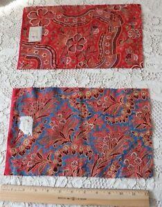 "2 French Antique Turkey Red Original Chardeyron Fréres Bandana Samples~12""L X8""W"