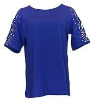 Quacker Factory Women's Top Sz M Short Lace Sleeve W/ Faux Pearl Purple A308121