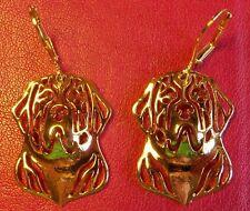 Saint St Bernard Dog Earrings ~ Gold Tone ~ Dog Lover ~ Cute!