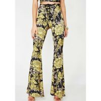 Free People Lenni the Label Floral Printed Bell Bottoms Pants Size M NWT