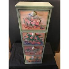 4-Drawer Stacked Painted Wood Display Cabinet w/ Floral Motif