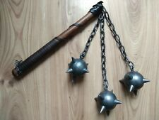Older triple Mace Metal Spiked Ball Medieval Weapon Chain Wood Handle Larp Decor
