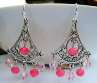 Sparkling Pink Crystal Chandelier Silver Filigree Earrings USA Handmade