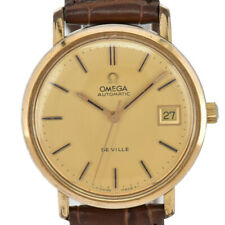 Auth OMEGA Deville Gold Plated/Leather Cal.1012 Automatic Men's Watch K#92958