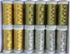 12 Metallic Embroidery threads 4 Gold 4 Light Gold 4 Silver 200 meters each