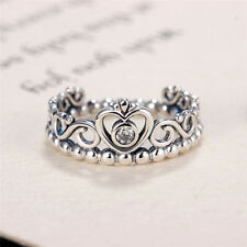 Princess Crown Silver Rhinestone Love Heart Ring Womens Girls Queen Tiara 0v 7#