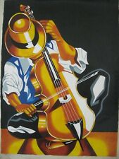 CUBAN  Art Painting oil on canvas, pure cuban art, jazz musician with cello