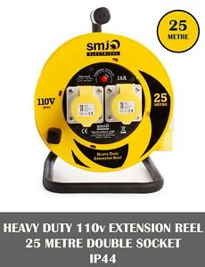SMJ 110V Extension Lead Cable Drum Reel 25m 2 Gang Socket 16A Thermal Cut off